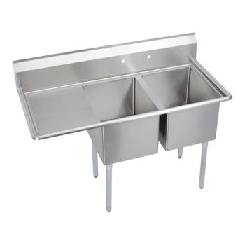 ELKE2C16X20L18X - Elkay SSP - E2C16X20-L-18X - Economy 54 1/2 in Two Compartment Sink With Left 18 in Drainboard Product Image