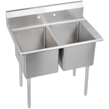 ELKE2C24X24R24X - Elkay SSP - E2C24X24-R-24X - Economy 76 1/2 in Two Compartment Sink With Right 24 in Drainboard Product Image