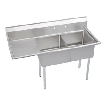 ELKS2C18X18L18X - Elkay SSP - S2C18X18-L-18X - Super Economy 56 1/2 in Two Compartment Sink With Left 18 in Drainboard Product Image