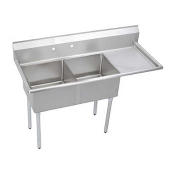 ELKS2C18X18R18X - Elkay - S2C18X18-R-18X - 56 1/2 in Two Compartment Sink w/ Right Drainboard Product Image