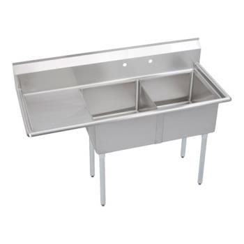 ELKSE2C18X18L18X - Elkay SSP - SE2C18X18-L-18X - 24 in Two Compartment Sink With  18 in Left Drainboard Product Image