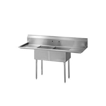 TURTSA212D1 - Turbo Air - TSA-2-12-D1 - 72 1/2 in Two Compartment Sink w/ 18 in Drainboards Product Image