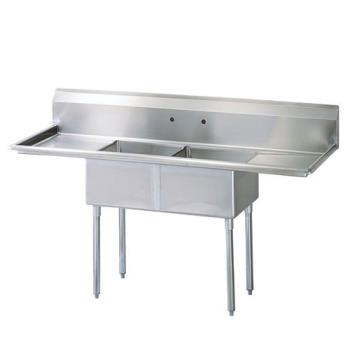 TURTSA2D1E - Turbo Air - TSA-2-D1-E - 72 1/2 in 2 Compartment Sink w/ 18 in Drainboards Product Image