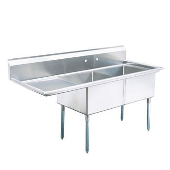 TURTSA2L1 - Turbo Air - TSA-2-L1 - 57 in Two Compartment Sink w/ 18 in Left Drainboard Product Image