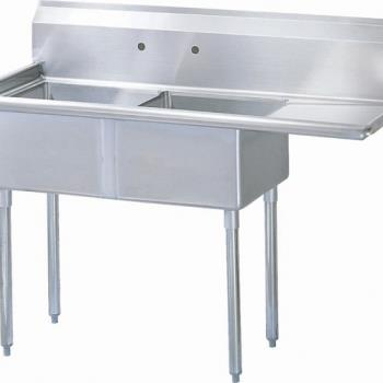 TURTSA2R1 - Turbo Air - TSA-2-R1 - 57 in Two Compartment Sink w/ 18 in Right Drainboard Product Image