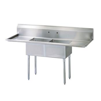 TURTSB2D2 - Turbo Air - TSB-2-D2 - 96 in Two Compartment Sink w/ 24 in Drainboards Product Image