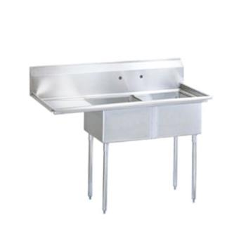 TURTSB2L2 - Turbo Air - TSB-2-L2 - 75 in Two Compartment Sink w/ 24 in Left Drainboard Product Image