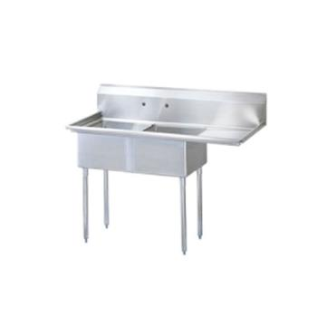 TURTSB2R2 - Turbo Air - TSB-2-R2 - 75 in Two Compartment Sink w/ 24 in Right Drainboard Product Image