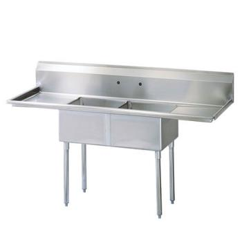 TURTSC2D2 - Turbo Air - TSC-2-D2 - 84 1/2 in Two Compartment Sink w/ 24 in Drainboards Product Image