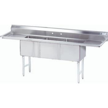 ADVFC3162024RLX - Advance Tabco - FC-3-1620-24RL-X - 16 in x 20 in x 14 in 3 Compartment Sink w/ Left and Right Drainboards Product Image