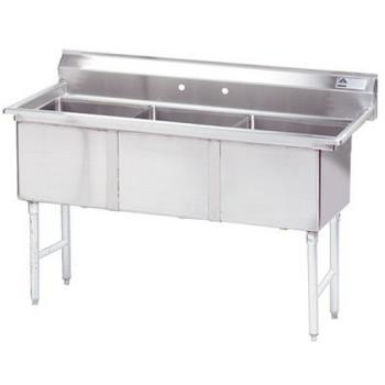 ADVFC31818X - Advance Tabco - FC-3-1818-X - 18 in x 18 in x 14 in 3 Compartment Sink w/ No Drainboards Product Image