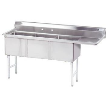 ADVFC3242424RX - Advance Tabco - FC-3-2424-24R-X - 24 in x 24 in x 14 in 3 Compartment Sink w/ Right Drainboard Product Image