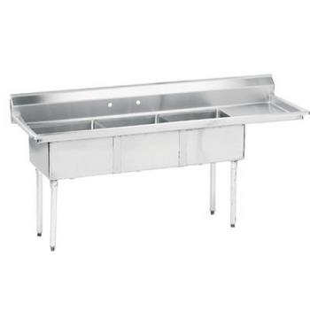 ADVFE3162018RX - Advance Tabco - FE-3-1620-18R-X - 16 in x 20 in x 12 in 3 Compartment Sink w/ Right Drainboard Product Image