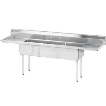 ADVFE3162018RLX - Advance Tabco - FE-3-1620-18RL-X - 16 in x 20 in x 12 in 3 Compartment Sink w/ Left and Right Drainboards Product Image