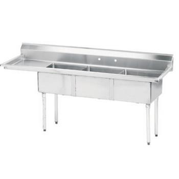 ADVFE3242424LX - Advance Tabco - FE-3-2424-24L-X - 24 in x 24 in x 14 in 3-Compartment Sink w/ Left Drainboard Product Image