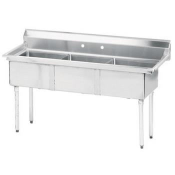 ADVFE32424X - Advance Tabco - FE-3-2424-X - 24 in x 24 in x 14 in 3 Compartment Sink w/ No Drainboards Product Image
