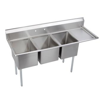 ELK143C18X24R18X - Elkay SSP - 14-3C18X24-R-18X - 14 in Standard 78 1/2 in Three Compartment Sink With Right 18 in Drainboard Product Image