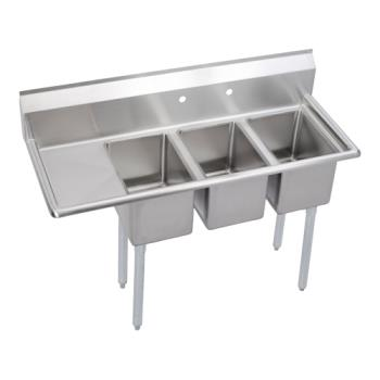 ELK3C10X14L12X - Elkay - 3C10X14-L-12X - Deli 48 1/2 in Three Compartment Sink w/ Drainboard Product Image