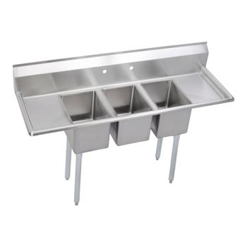 ELK3C12X16216X - Elkay SSP - 3C12X16-2-16X - Deli 72 in Three Compartment Sink With Left And Right 16 in Drainboards Product Image
