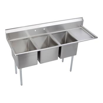 ELK3C24X24R24X - Elkay SSP - 3C24X24-R-24X - Standard 102 1/2 in Three Compartment Sink With Right 24 in Drainboards Product Image