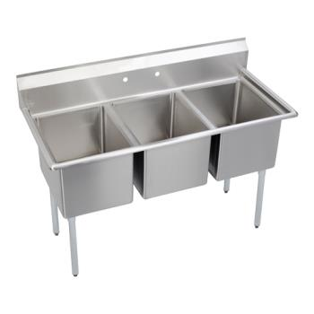 ELKE3C16X200X - Elkay SSP - E3C16X20-0X - Economy 57 in Three Compartment Sink Product Image