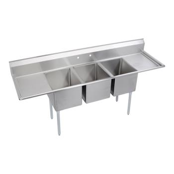 ELKE3C20X20220X - Elkay SSP - E3C20X20-2-20X - Economy 104 in Three Compartment Sink With Left And Right 20 in Drainboards Product Image
