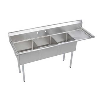 ELKS3C18X18R18X - Elkay - S3C18X18-R-18X - 74 1/2 in Three Compartment Sink w/ Right Drainboard Product Image