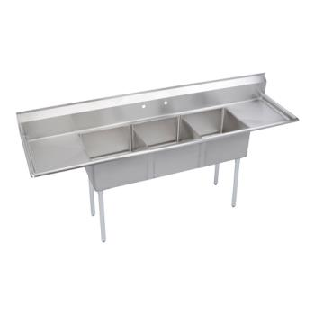 ELKS3C24X24224X - Elkay - S3C24X24-2-24X - Three Compartment Sink With Left/Right Drainboards Product Image