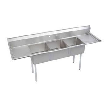 ELKSE3C18X18218X - Elkay - SE3C18X18-2-18X - 24 in Three Compartment Sink With  18 in Drainboards Product Image