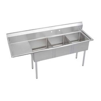 ELKSE3C18X18L18X - Elkay SSP - SE3C18X18-L-18X - 24 in Three Compartment Sink With  18 in Left Drainboard Product Image
