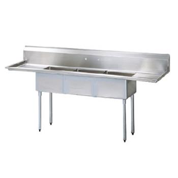 TURTSA312D1 - Turbo Air - TSA-3-12-D1 - 90 1/2 in Three Compartment Sink w/ 18 in Drainboards Product Image