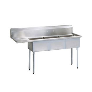 TURTSA312L1 - Turbo Air - TSA-3-12-L1 - 75 in Three Compartment Sink w/ 18 in Left Drainboard Product Image