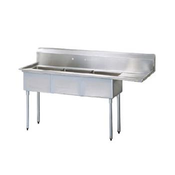 TURTSA312R1 - Turbo Air - TSA-3-12-R1 - 75 in Three Compartment Sink w/ 18 in Right Drainboard Product Image