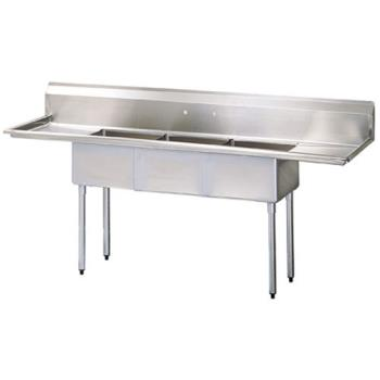 95350 - Turbo Air - TSA-3-14-D2 - 102 in Three Compartment Sink w/ 24 in Drainboards Product Image