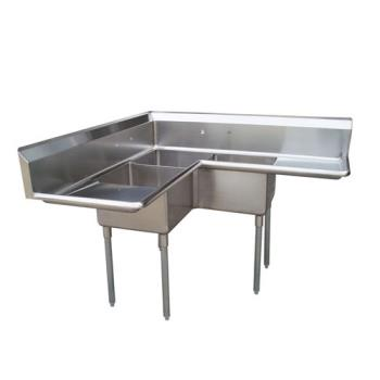 TURTSA3CD1 - Turbo Air - TSA-3C-D1 - Corner Type Three Compartment Sink w/ 18 in Drainboards Product Image