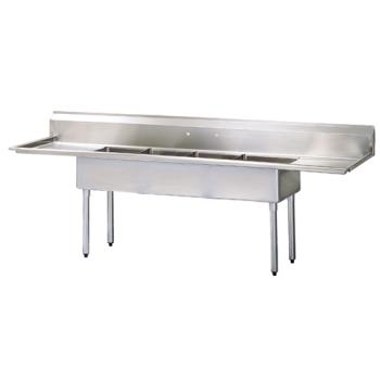 TURTSA4D1 - Turbo Air - TSA-4-D1 - 108 1/4 in Four Compartment Sink w/ 18 in Drainboards Product Image