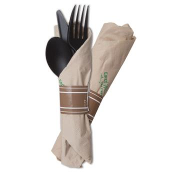 56216 - Eco-Products - ESVBKEROLL3 - 7 in Vine™ Black Compostable Flatware Set Product Image