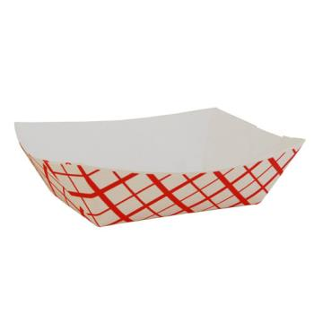 58933 - Commercial - 0413 - 1 lb Red Plaid Food Tray Product Image