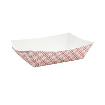 58933 - Superior Quality - 8151 - 1 lb Red Plaid Food Tray Product Image