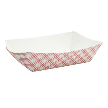 58935 - Superior Quality - 8153 - 3 lb Red Plaid Food Tray Product Image