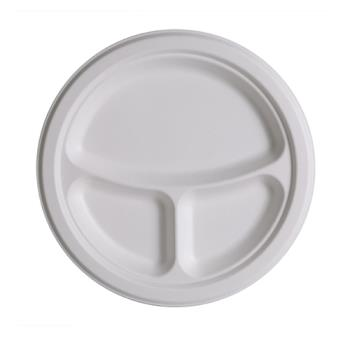 56131 - Eco-Products - EP-P007 - 10 in 3-Compartment Sugarcane Plates Product Image
