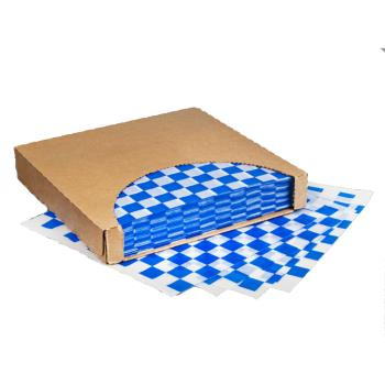 18643 - Brown Paper Goods - 7B4-BL - Blue & White Checkered Deli Paper Product Image