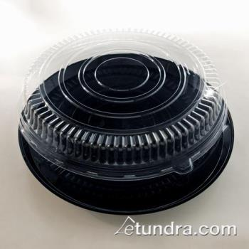 "EMI280CPP - EMI Yoshi - EMI-280CPP - 18"" Black Round Deli Tray w/PET Clear Lid Product Image"