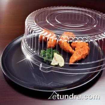 "EMI440CPBLK - EMI Yoshi - EMI-440CP - 14"" Black Round Party Tray w/Clear Lid Product Image"
