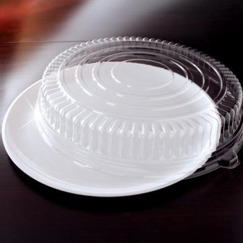 "EMI460CPWH - EMI Yoshi - EMI-460CP - 16"" White Round Party Tray w/Clear Lid Product Image"