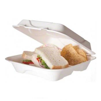 57180 - Eco-Products - EP-HC93PK - 9 in 3-Compartment Sugarcane Clamshell Convenience Pack Product Image