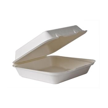 56157 - Eco-Products - EP-HCL91 - 9 x 9 x 3 Renewable and Compostable Soak Proof Sugarcane Clamshells Product Image