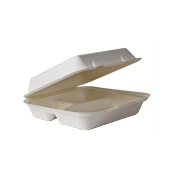 "57139 - Eco-Products - EP-HCL93 - 9"" 3-Compartment Soak Proof Sugarcane Clamshells Product Image"