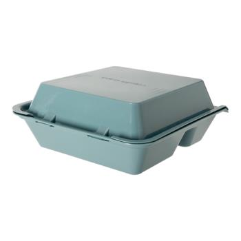 GETEC011TE - GET Enterprises - EC-01-1-TE - Eco-Takeouts Teal 9 in x 9 in x 3 1/2 in 3-Comp Container Product Image