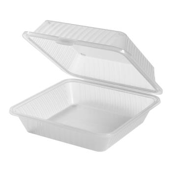 GETEC101CL - GET Enterprises - EC-10-1-CL - Eco-Takeouts 9 in x 9 in x 3 1/2 in 3-Comp Container Product Image